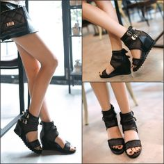 New Sandals Shoes Women 2015 Summer Wedges Shoes for Woman High Heeled Pierced Mesh Open Toe Casual Ladies Sandals