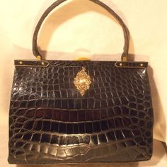 Large vintage 1930's glossy black French crocodile handbag with cherub front…