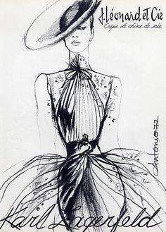Fashion illustration by Antonio, 1972, Karl Lagerfeld Couture, J. Léonard et Cie.