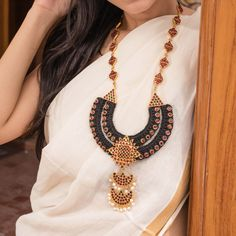 The traditional handcrafted temple motifs have been woven with earthy jute threads, keeping the urban sensitivities in mind. Fabric Jewelry, Etsy Jewelry, Jewelry Sets, Handmade Jewelry, Moon Design, Set Design, Pearl Chain, Festival Wear, Wedding Wear