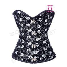 zwart fluweel schedel print korset cosplay lolita kostuum vintage overbust taille training bustier corselet staal uitgebeend corpete(China (Mainland))