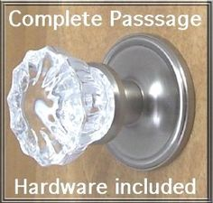 Fluted Crystal & Brushed Nickel Premium Passage Door Knob Set. A very special purchase of the Finest Crystal Glass Passage Door set, with all the hardware needed to install on interior or exterior passage doors. by Rousso's Reproduction. $79.95. Complete Crystal Passage Door Knob Sets, Dollar for Dollar your greatest value. Includes many features, never before offer at this price point. (1) Premium Retrofit Rosettes, hand forged in BRUSHED NICKEL over solid brass with connec...