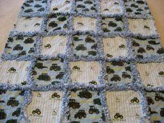 Blue and Green John Deere Baby Boy Rag Quilt Blanket 36x36 via Etsy
