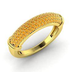 0.74 Ct Citrine 10k Yellow Gold Half Eternity Anniversary Wedding Band Ring #Diamondere #WithGemstones