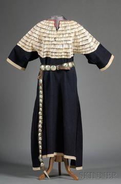 Central Plains blue trade cloth woman's dress, Lakota, c. last quarter 19th century.