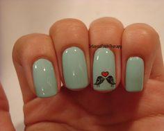 Love Birds - stamping nail art (via Bloglovin.com )