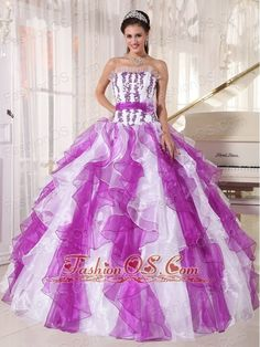 Beautiful Colorful Quinceanera Dress Strapless Organza Beading Ball Gown  http://www.facebook.com/quinceaneradress.fashionos.us  http://www.youtube.com/user/fashionoscom?feature=mhee   This perfect straight neckline ball gown quinceanera dress is featured with the contrasting colors of purple and white at the bottom of the dress, And the ruffles make the effect successfully.The bodice is decorated with purple appliques and tulle made waist band, which looks even falttering.