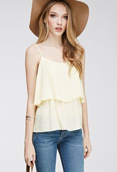 Diamond-Embroidered Flounce Cami | FOREVER21 - 2000096637