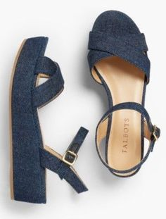 Find a great selection of shoes at Talbots! Shop women's heels, sandals, flats, booties & additional styles to find the perfect pair. Mid Heel Sandals, Mid Heel Shoes, Cute Sandals, Platform Shoes, Heels, Shiny Shoes, Blue Shoes, New Shoes, Vintage Style Shoes