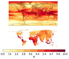 Maps show emergence of new climates under the RCP4.5 emissions scenario for the end of the century for a standard map (upper) and population-weighted cartogram (lower). Shading indicates the signal-to-noise ratio (the darker the shading, the higher the ratio). Maps show results for the median of all the climate model simulations. Source: Frame et al. (2017)