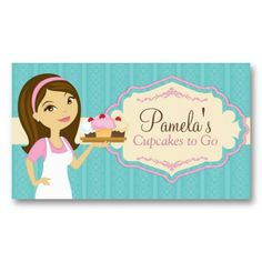 Brunette Baker Cupcake Business Cards D14