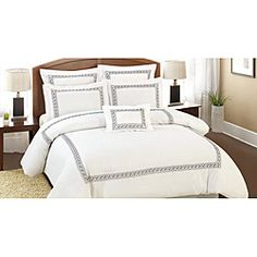 @Overstock - The Ramsey 7-piece Soft Brushed Comforter Set is the very essence of high class. This 7-piece comforter set is ultra-soft, light and stunning to look at. This comforter set is featured on a pure white background with an alternating aqua-chocolate border.http://www.overstock.com/Bedding-Bath/Ramsey-Soft-Brushed-7-piece-King-size-Comforter-Set/6710679/product.html?CID=214117 $79.19