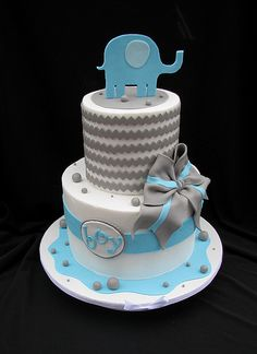 Chevron Baby Shower Cake with Elephant I want this cake hopefully I can find someone to do it gluten free