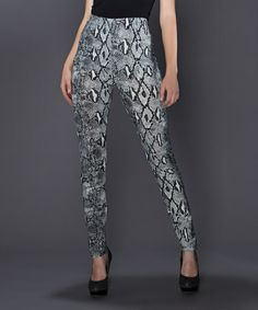 Another great find on #zulily! Gray Snakeskin High-Waist Leggings #zulilyfinds