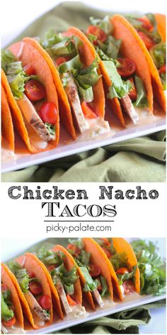 Chicken Nacho Tacos with a homemade Queso Sauce.  Fun football game food or for Taco Tuesday!