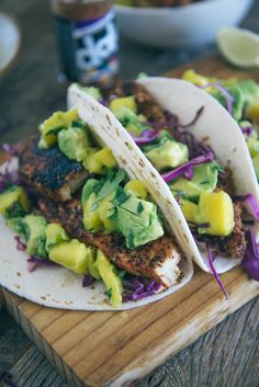 I thought fish tacos would be complicated and time consuming, but these were easy and delicious. I would definitely make them again. Blackened mahi mahi fish tacos.