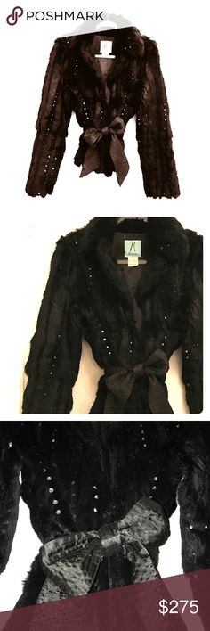"Marciano Rabbit Fur Rhinestone Embellished Jacket Silky soft rabbit fur jacket by Marciano (Guess' high end line). All black. Attached satin tie belt. Embellished with rhinestones that shine through the fur. Has 3 hook and eyes so you can close it completely. Closed measures 19"" across bust. 25"" long from back neck of collar to bottom. So fancy. So NYE! Excellent, like new condition. ✨🥂 Marciano Jackets & Coats"