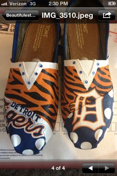 hey @Ana Unger I found some shoes - Detroit Tigers  hand painted TOMS. $110.00, via Etsy.