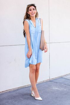 In this post, Fashion Blogger The Darling Detail is wearing a Revolve Shirt Dress, Nordstrom 'Hermosah' Pumps, and Dior 'So Real' Sunglasses, holding a Street Level Reversible Faux Leather Tote and sporting a Larsson & Jennings Watch.