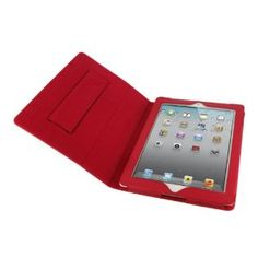 rooCASE Dual Station Premium Leather (Red) Case Cover with Elastic Hand Strap and Stand for Apple iPad 2 / iPad 3 / The new iPad