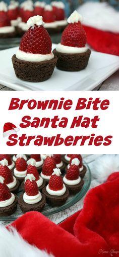 cb92746cd334d Brownie Bite Santa Hat Strawberries Christmas Brownies