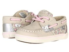 Sperry Kids Bluefish Prewalker (Infant) Silver Cloud/Pink Leopard - Zappos.com Free Shipping BOTH Ways