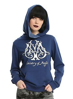 Harry Potter Ministry Of Magic Girls Cowl Neck Hoodie, NAVY