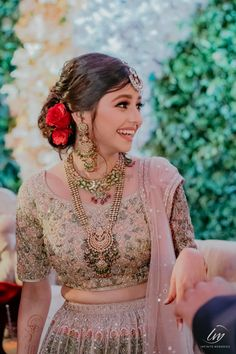 This Decorator Tied the Knot in the Maldives & We Haven't Seen Anything More Surreal! Indian Bridal Photos, Indian Bridal Outfits, Indian Bridal Fashion, Indian Designer Outfits, Bridal Dresses, Indian Bridal Hairstyles, Bride Hairstyles, Shadi Dresses, Indian Dresses