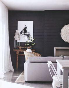Dark walls & white accessories...LOVE