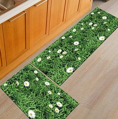 AmazonSmile: 1 Pcs AiseBeau Comfort Flannel Kitchen Rug European Style Kitchen Floor Mat Non-Slip Kitchen Mat Soft Kitchen Runner Bedside Runner Entrance Runner Door Mat Mashine Washable 19.6X31.5 IN: Kitchen & Dining