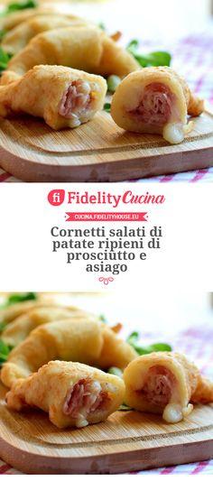 Cornetti salati di patate ripieni di prosciutto e asiago Sweet Recipes, Keto Recipes, Brunch, Tasty, Yummy Food, Happy Foods, Antipasto, Frittata, Soul Food