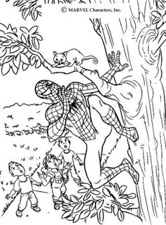 Spiderman saving a cat coloring page. Do you like SPIDER-MAN coloring pages? You can print out this Spiderman saving a cat coloring pagev or color it . Coloring Sheets For Boys, Coloring For Kids, Adult Coloring, Superhero Coloring Pages, Spiderman Coloring, Free Printable Coloring Pages, Free Coloring Pages, Superhero Kids, Cat Coloring Page