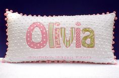 Name Applique Minky Pillow