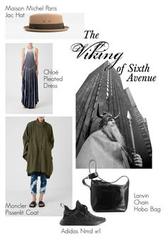 """The Viking of Sixth Avenue"" by ekseption ❤ liked on Polyvore featuring Moncler, MAISON MICHEL PARIS, Lanvin, adidas and Chloé"