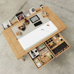 Risko Drawing Desk by Digitalab for Viarco. - Desk Wood - Ideas of Desk Wood - Risko Drawing Desk by Digitalab for Viarco. Bureau Design, Design Desk, Bureau D'art, Rangement Art, Diy Furniture, Furniture Design, Furniture Dolly, Furniture Layout, Furniture Stores