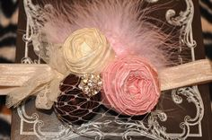 Pretty Baby couture vintage isnpired fabric rosette headband