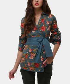 Take a look at this Blue & Red Floral Michael Wrap Top by Almatrichi on #zulily today!