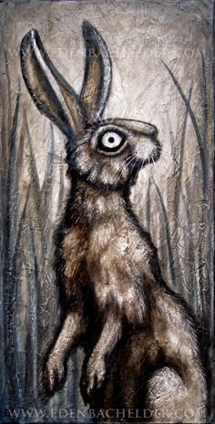 Standing Hare signed and matted print, from an original painting by Eden Bachelder, rabbit. $40.00, via Etsy.