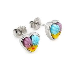 Cercei argint 925 cu Sticla de Murano cu inimioare ESX0215 - Be In Love-big Stud Earrings, Jewelry, Jewlery, Bijoux, Ear Gauge Plugs, Jewerly, Stud Earring, Jewelery, Jewels