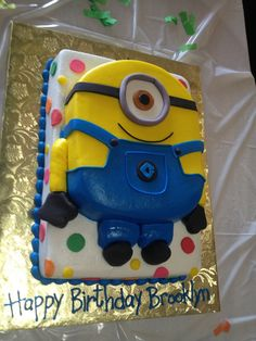 Minion cake   This might work for when I don't need a huge cake.