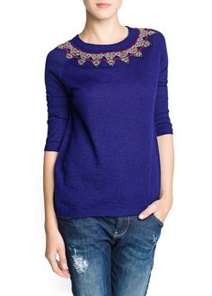 Beaded mohair wool-blend sweater
