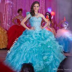 20ce00577 Custom Made Blue Sweet 16 Quinceanera Dresses Sweetheart Ruffle Train  Corset Back Beading Vestidos De 15 Anos Debutante Gowns Plus Size 2017  Quinceanera ...