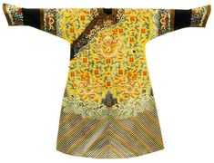 Empress' 12-symbol Dragon Robe, 1800-1911 (Qing Dynasty). Embroidered yellow silk with coral and pearls. Length 144.7 cm x width 199.5 cm.