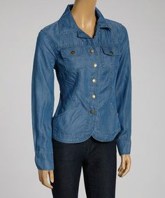 Love this Blue Side-Pocket Denim Button-Up Jacket - Women on #zulily! #zulilyfinds