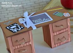 A great end of the school year gift for teachers! Drawers filled with goodies and a desk that even opens up into a card - all made of paper!