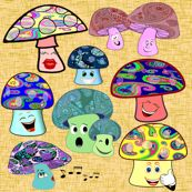 funny mushrooms - krs_expressions - Spoonflower fabric