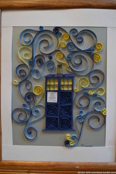 This is a quilled Tardis  made for a friend for Christmas.Click for the best DoctorWho tumblr ever.