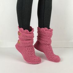Women's Crochet Pink Slipper Boots Crochet by StardustStyle