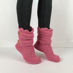 Women's Crochet Pink Slipper Boots Crochet by StardustStyle