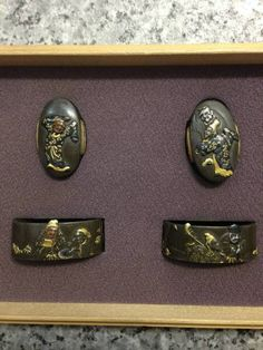 Daisho fuchi kashira just added to the collection. This set has not been to shinsa so I do not attest to the authenticity of the signatures. Hamano Naoyuki (1745-1819) lived to 74 years old and was prolific in his work. A student of shodai Hamano Noriyuki and later on, Iwama Masayoshi. Naoyuki moved around from province to province and is a jokko rated smith in the Kinko Meikan. 38mm × 23mm  33mm × 20mm
